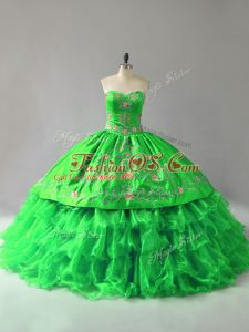 Low Price Sweetheart Lace Up Embroidery and Ruffles Quince Ball Gowns Sleeveless