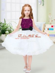 Sleeveless Sequins and Hand Made Flower Zipper Flower Girl Dresses