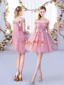 Affordable Pink Bridesmaid Dresses Wedding Party with Belt Off The Shoulder Sleeveless Lace Up