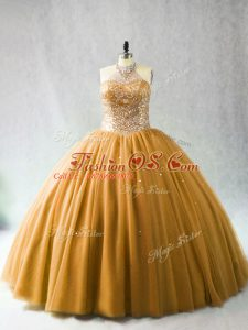 Cute Gold Sweet 16 Quinceanera Dress Sweet 16 and Quinceanera with Beading Halter Top Sleeveless Brush Train Lace Up