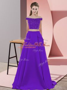 Great Purple Sleeveless Sweep Train Beading Mother Of The Bride Dress