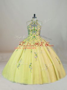 Spectacular Appliques and Embroidery 15th Birthday Dress Yellow Lace Up Sleeveless Brush Train