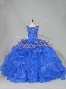 Captivating Royal Blue Ball Gowns Beading and Ruffles 15th Birthday Dress Lace Up Organza Sleeveless