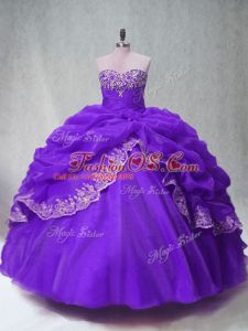 Organza Sleeveless Floor Length 15th Birthday Dress and Beading and Appliques and Pick Ups