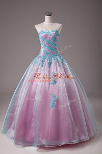 Light Blue Lace Up Quinceanera Gowns Appliques Sleeveless Floor Length