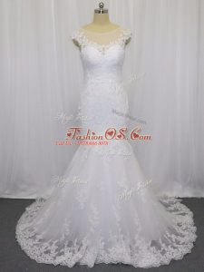 White Bridal Gown Wedding Party with Lace Scoop Sleeveless Brush Train Clasp Handle
