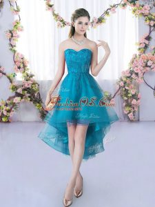 Sumptuous Sleeveless Tulle High Low Lace Up Damas Dress in Teal with Lace