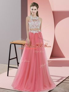 Halter Top Sleeveless Dama Dress Floor Length Lace Watermelon Red Tulle