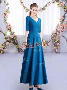 Fancy Half Sleeves Ankle Length Ruching Zipper Wedding Party Dress with Teal