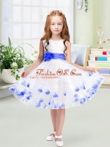 Knee Length White Flower Girl Dress Scoop Sleeveless Zipper