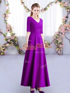 Eggplant Purple Half Sleeves Ruching Ankle Length Quinceanera Court of Honor Dress