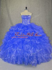 Eye-catching Blue Quince Ball Gowns Sweet 16 and Quinceanera with Beading and Ruffles Strapless Sleeveless Lace Up