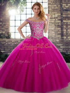Off The Shoulder Sleeveless Tulle Quince Ball Gowns Beading Lace Up