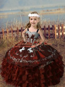 Floor Length Ball Gowns Sleeveless Rust Red Kids Formal Wear Lace Up