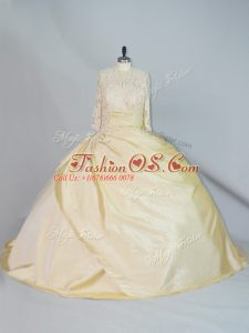 Charming Yellow Ball Gowns Lace 15th Birthday Dress Lace Up Taffeta Long Sleeves