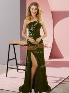 Custom Made Olive Green Lace Up One Shoulder Beading Prom Evening Gown Elastic Woven Satin Sleeveless Sweep Train