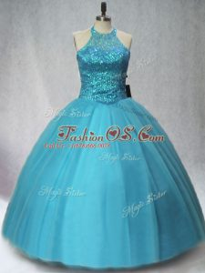 Custom Fit Floor Length Lace Up Quinceanera Gowns Teal for Sweet 16 and Quinceanera with Beading