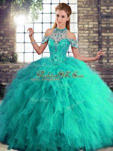 Lovely Turquoise Tulle Lace Up Halter Top Sleeveless Floor Length Sweet 16 Quinceanera Dress Beading and Ruffles
