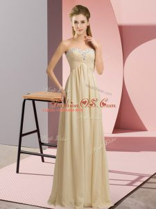 Champagne Empire Sweetheart Sleeveless Chiffon Floor Length Lace Up Beading and Ruching Party Dresses