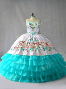 Stylish Blue And White Ball Gowns Organza Sweetheart Sleeveless Embroidery and Ruffled Layers Floor Length Lace Up Quinceanera Gown