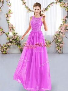 Suitable Scoop Sleeveless Chiffon Quinceanera Court of Honor Dress Lace Zipper