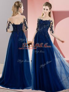 Navy Blue Half Sleeves Chiffon Lace Up Wedding Guest Dresses for Wedding Party