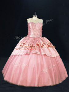 Pink Sleeveless Tulle Lace Up Quinceanera Dress for Sweet 16 and Quinceanera