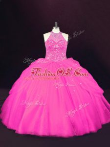 Halter Top Sleeveless Lace Up Ball Gown Prom Dress Hot Pink Tulle