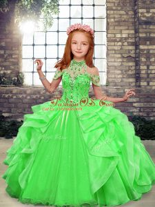 Green Ball Gowns High-neck Sleeveless Organza Floor Length Lace Up Beading Pageant Gowns For Girls