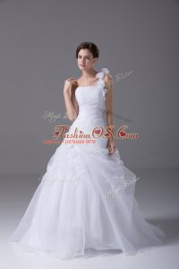 White Organza Lace Up One Shoulder Sleeveless Bridal Gown Brush Train Hand Made Flower