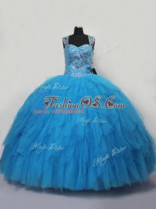 Blue Quinceanera Dresses Sweet 16 and Quinceanera with Beading and Ruffles Straps Sleeveless Lace Up
