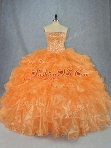 Strapless Sleeveless 15th Birthday Dress Floor Length Beading and Ruffles Orange Organza