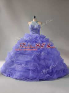 Custom Fit Lavender Ball Gowns Halter Top Sleeveless Organza Court Train Lace Up Beading and Pick Ups Ball Gown Prom Dress
