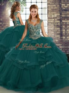 Affordable Peacock Green Lace Up 15th Birthday Dress Beading and Ruffles Sleeveless Floor Length