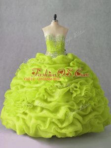 Yellow Green Sleeveless Beading and Pick Ups and Hand Made Flower Floor Length Quinceanera Gowns