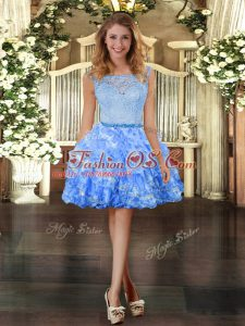 Mini Length Blue Celebrity Prom Dress Organza Sleeveless Lace and Ruffled Layers