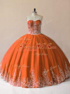 Orange Sleeveless Embroidery Floor Length 15 Quinceanera Dress