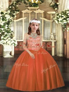 Cheap Rust Red Ball Gowns Tulle Halter Top Sleeveless Beading Floor Length Lace Up Girls Pageant Dresses