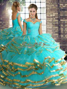 Sleeveless Lace Up Floor Length Beading and Ruffled Layers Sweet 16 Dress