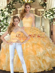 Suitable Gold Sweetheart Lace Up Beading and Ruffles 15 Quinceanera Dress Sleeveless