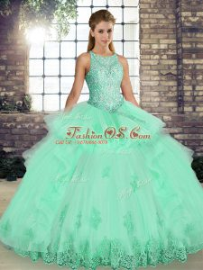 Custom Design Apple Green Lace Up Quinceanera Gown Lace and Embroidery and Ruffles Sleeveless Floor Length