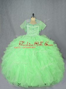 Fancy Sleeveless Floor Length Beading and Ruffles Lace Up Quinceanera Dress with