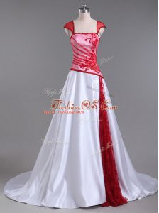 Deluxe Satin Strapless Cap Sleeves Court Train Lace Up Lace and Appliques Evening Dress in White And Red
