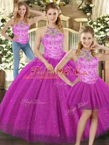 Beautiful Fuchsia Three Pieces Tulle Halter Top Sleeveless Beading Floor Length Lace Up 15th Birthday Dress