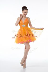 Mini Length Ball Gowns Sleeveless Orange Cocktail Dresses Zipper