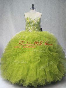 Clearance Olive Green Sleeveless Beading and Ruffles Floor Length 15th Birthday Dress