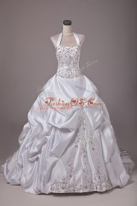 Hot Selling White Taffeta Lace Up Halter Top Sleeveless Wedding Gown Brush Train Beading and Embroidery and Pick Ups