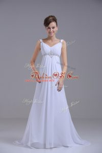 Smart White Lace Up Straps Beading Wedding Gown Chiffon Sleeveless Brush Train