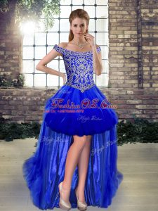 Beautiful High Low Lace Up Celebrity Inspired Dress Royal Blue for Prom and Party with Beading