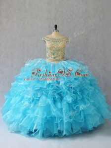 Baby Blue Sleeveless Floor Length Ruffles Lace Up Sweet 16 Quinceanera Dress